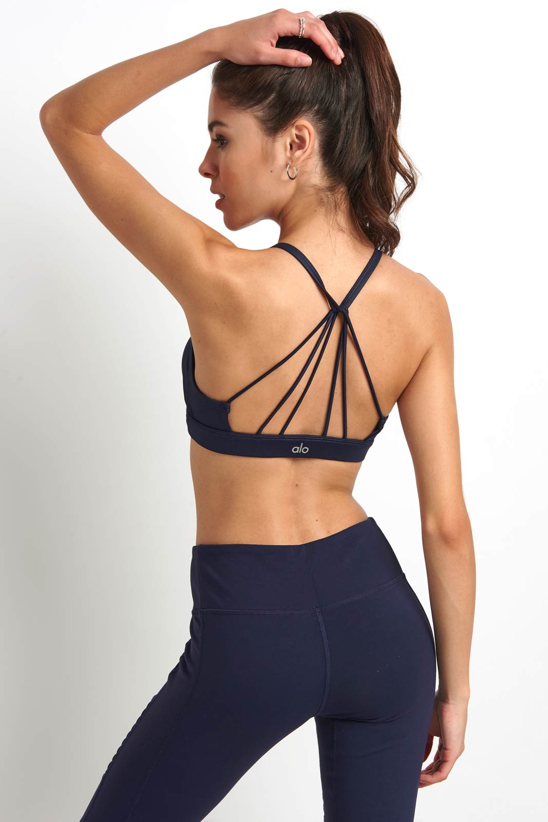 Alo Yoga Sunny Strappy Bra - Navy Glossy image 2 - The Sports Edit