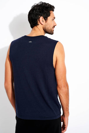 Alo Yoga The Triumph Muscle Tank - Dark Navy Triblend image 3 - The Sports Edit