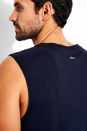 Alo Yoga The Triumph Muscle Tank - Dark Navy Triblend image 4 - The Sports Edit