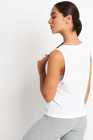 Alo Yoga Vibration Tank - White image 2 - The Sports Edit