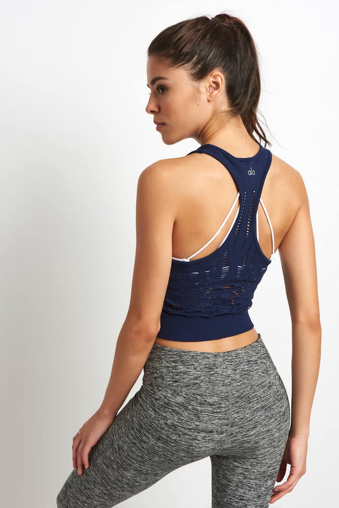 2b59d574490 Alo Yoga Vixen Fitted Crop Tank - Navy image 2 - The Sports Edit
