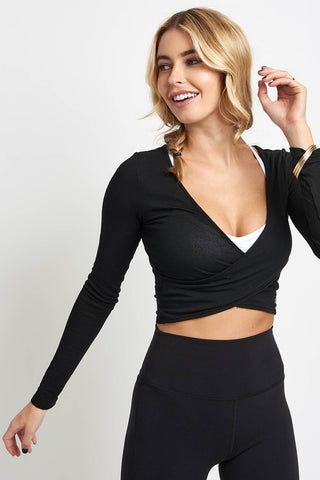Alo Yoga Amelia Long Sleeve Crop - Black image 1 - The Sports Edit