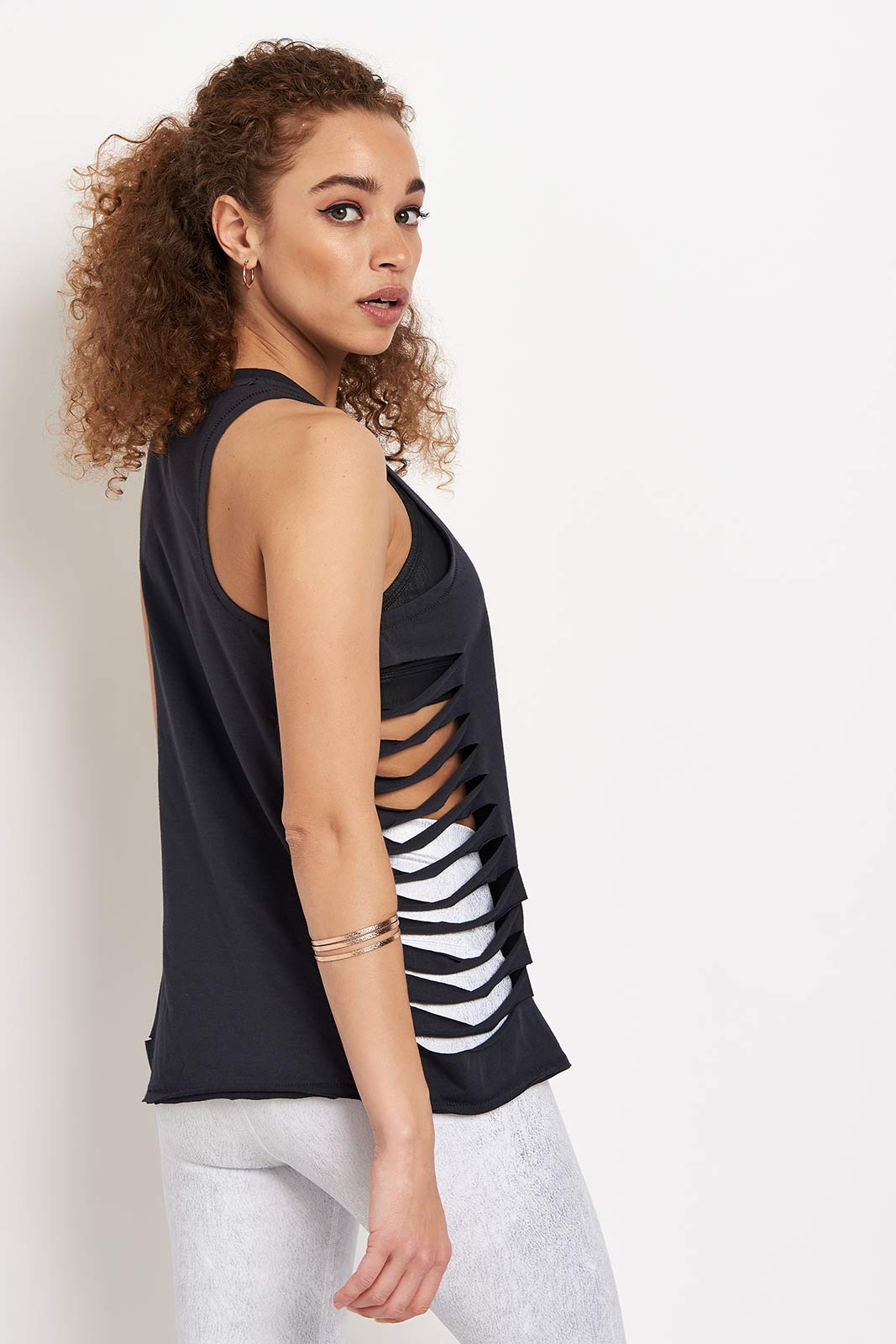 Alo Yoga Cut it Out Long Tank - Anthracite image 2 - The Sports Edit