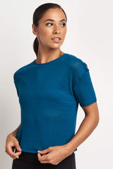 Alo Yoga Entwine Short Sleeve Top - Legion Blue image 2 - The Sports Edit