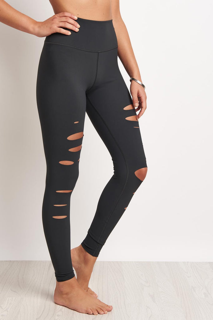 f60d9e11122a9 Alo Yoga High-Waist Ripped Warrior Legging - Anthracite image 1 - The  Sports Edit