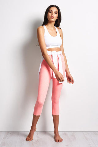 Beyond Yoga Spacedye High Waisted Capri Legging - White / Coral Reef image 1