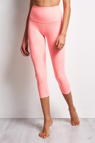 Beyond Yoga Spacedye High Waisted Capri Legging - White / Coral Reef image 1 - The Sports Edit