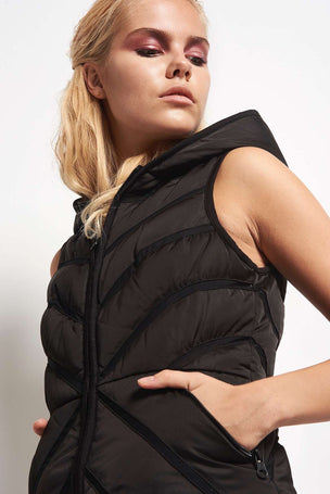 Blanc Noir Mesh Inset Puffer Vest Satin Black image 3 - The Sports Edit