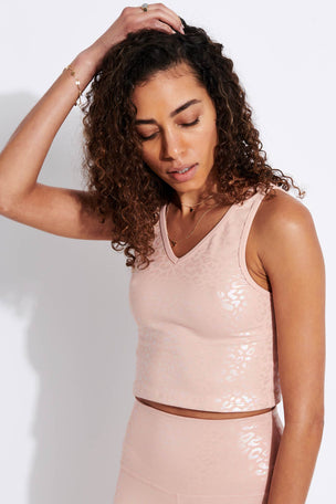 Beyond Yoga Shiny Leopard Cropped Tank - Tinted Rose Iridescent Clear Leopard image 1 - The Sports Edit