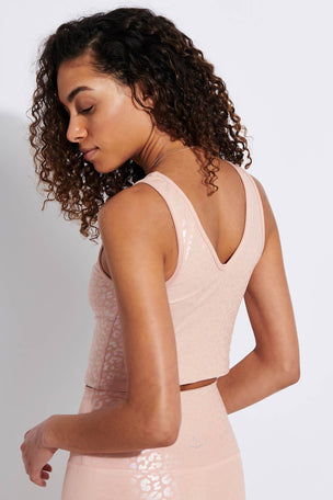Beyond Yoga Shiny Leopard Cropped Tank - Tinted Rose Iridescent Clear Leopard image 3 - The Sports Edit