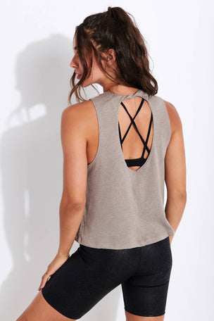 Beyond Yoga Boyfriend Jersey Aquarius Tank - Latte Heather image 3 - The Sports Edit