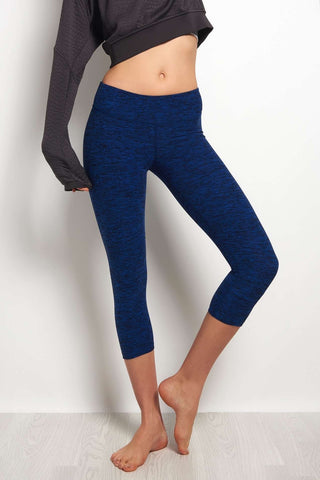 Beyond Yoga Spacedye Capri Legging - Black/Bolt Blue image 2