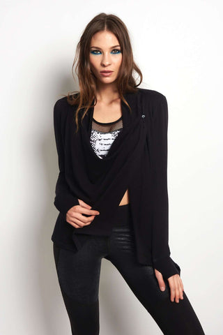 Beyond Yoga Stone's Throw Over Drape Cardigan - Black image 1 - The Sports Edit