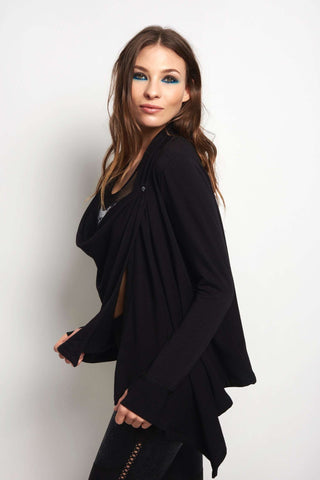 Beyond Yoga Stone's Throw Over Drape Cardigan - Black image 2