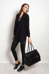 Beyond Yoga Stone's Throw Over Drape Cardigan - Black image 4 - The Sports Edit