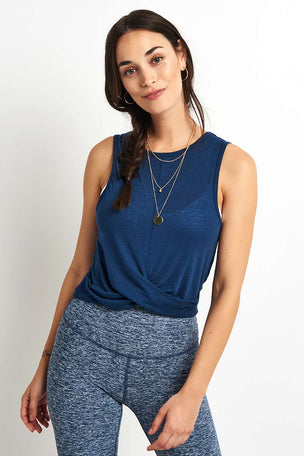 Beyond Yoga Crossroads Reversible Cropped Tank - Outlaw Navy image 1 - The Sports Edit