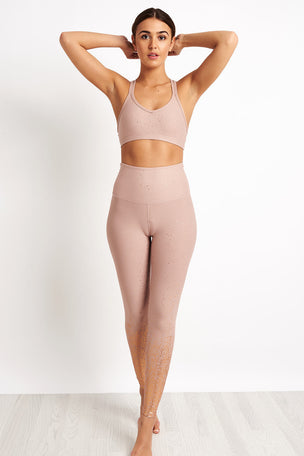 Beyond Yoga Alloy Speckled Double Back Bra - Blush/Rose Gold image 4 - The Sports Edit
