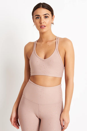 Beyond Yoga Alloy Speckled Double Back Bra - Blush/Rose Gold image 5 - The Sports Edit