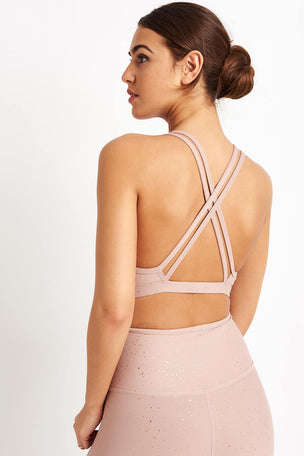 Beyond Yoga Alloy Speckled Double Back Bra - Blush/Rose Gold image 2 - The Sports Edit