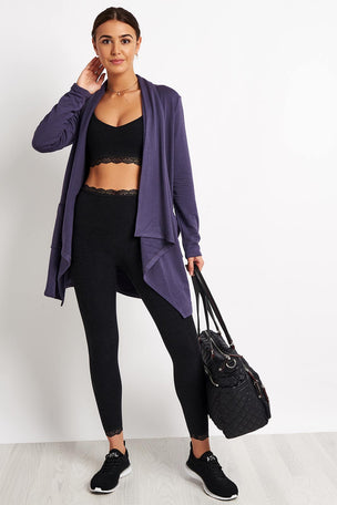 Beyond Yoga Everyday Drape Cardigan - Deep Amethyst image 4 - The Sports Edit