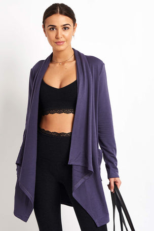 Beyond Yoga Everyday Drape Cardigan - Deep Amethyst image 5 - The Sports Edit