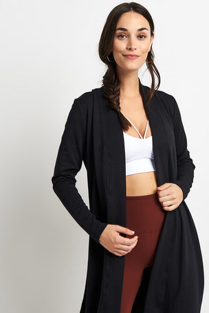 Beyond Yoga High Slits Long Duster -Black image 1 - The Sports Edit