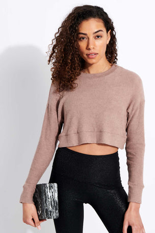 Beyond Yoga In Line Cropped Pullover - Tinted Rose Heather image 1 - The Sports Edit