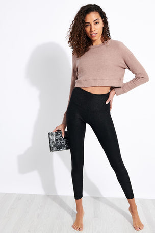 Beyond Yoga In Line Cropped Pullover - Tinted Rose Heather image 2 - The Sports Edit
