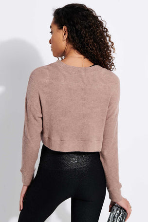 Beyond Yoga In Line Cropped Pullover - Tinted Rose Heather image 3 - The Sports Edit