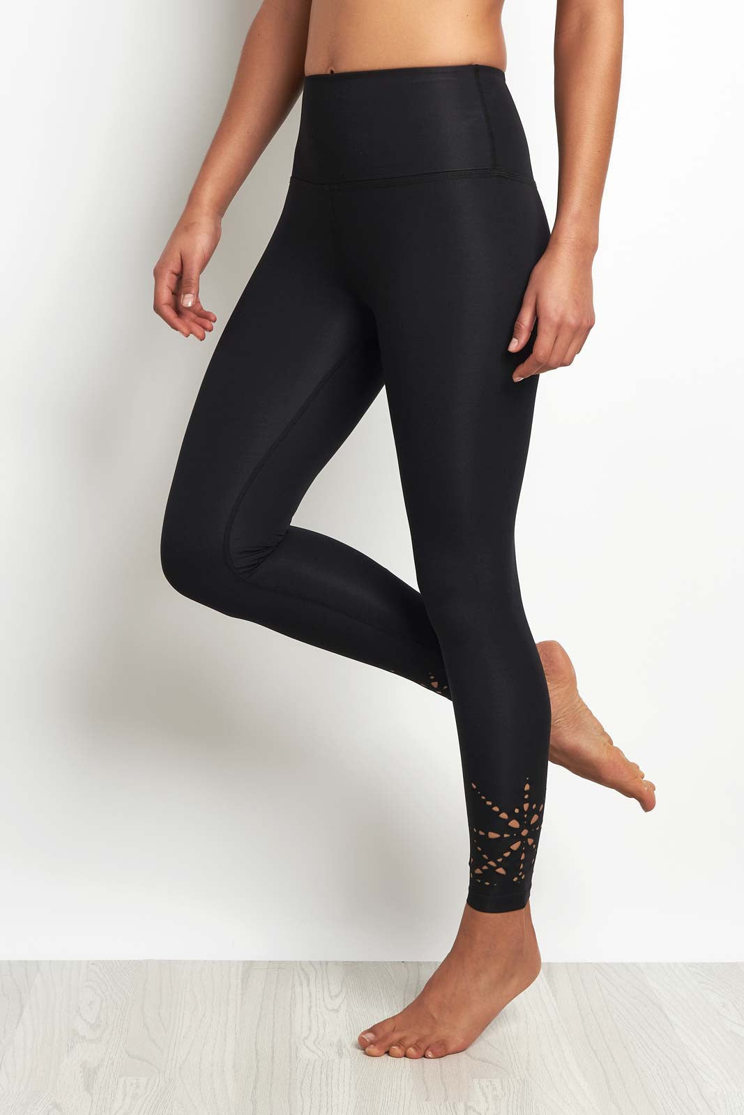 Beyond Yoga Knit Down Midi High Waisted Legging Black image 1 - The Sports Edit