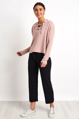 Beyond Yoga Over Tied Cropped Pullover - Brazen Blush image 4 - The Sports Edit
