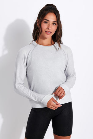 Beyond Yoga Printed Viper Favorite Raglan Crew Pullover - Stone Gray Snake image 1 - The Sports Edit