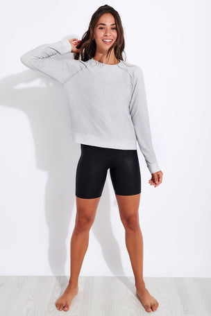 Beyond Yoga Printed Viper Favorite Raglan Crew Pullover - Stone Gray Snake image 2 - The Sports Edit