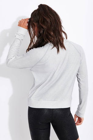 Beyond Yoga Printed Viper Favorite Raglan Crew Pullover - Stone Gray Snake image 3 - The Sports Edit