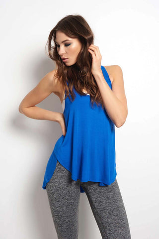 Beyond Yoga In Slink Overlapping Tank - Cobalt Blue image 2