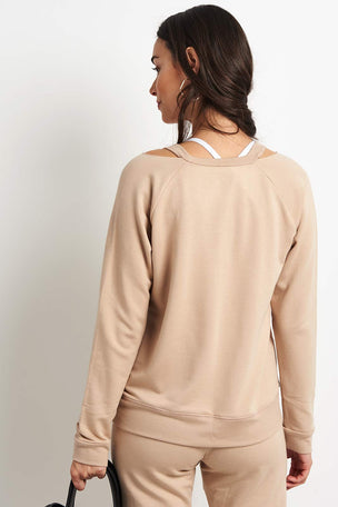 Beyond Yoga Sedona Cutout Pullover - Texas Taupe image 2 - The Sports Edit