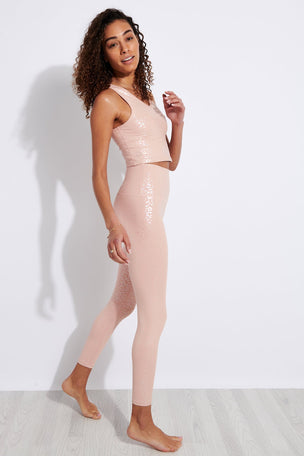 Beyond Yoga Shiny Leopard High Waisted Midi Legging - Tinted Rose Iridescent Clear Leopard image 2 - The Sports Edit