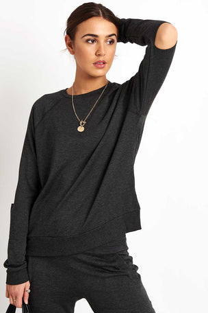 Beyond Yoga Slashes Raglan Crew Pullover - Charcoal Heather image 5 - The Sports Edit