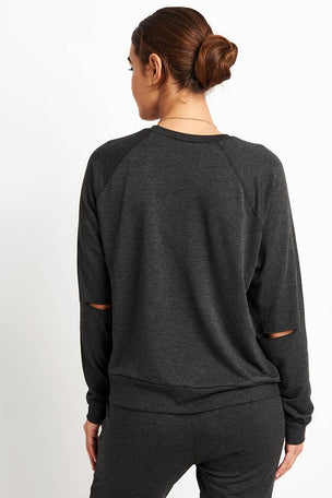 Beyond Yoga Slashes Raglan Crew Pullover - Charcoal Heather image 2 - The Sports Edit