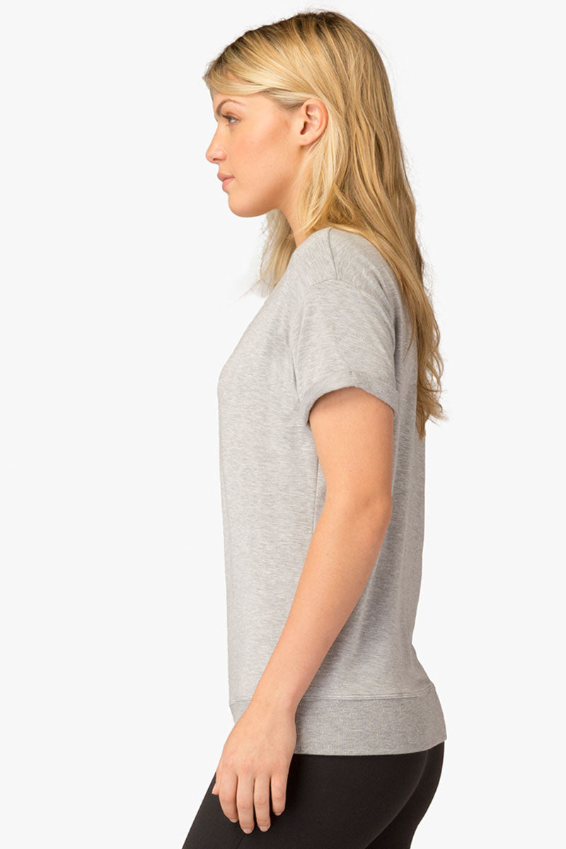 Beyond Yoga Slouchy Short Sleeve Pullover - Heather Grey image 3