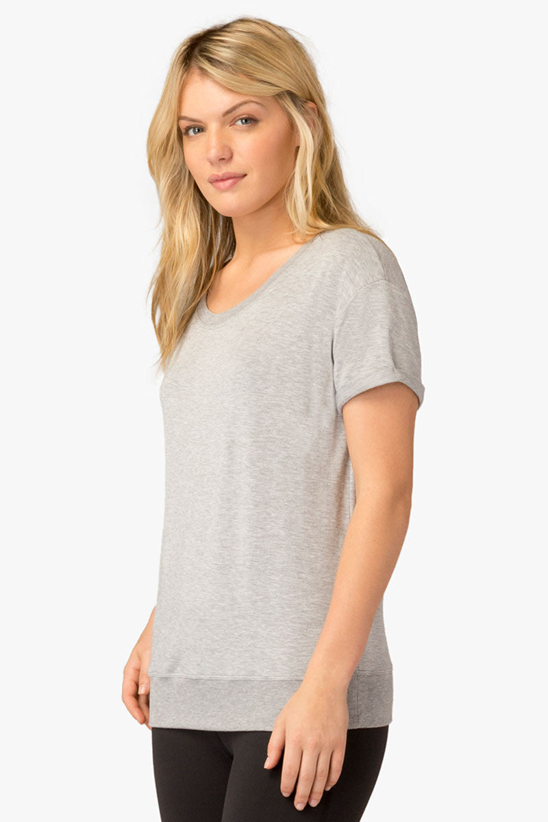 Beyond Yoga Slouchy Short Sleeve Pullover - Heather Grey image 1