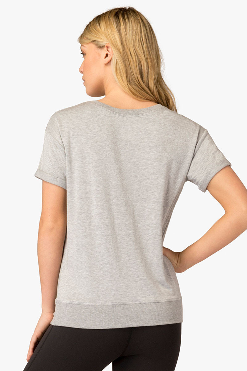 Beyond Yoga Slouchy Short Sleeve Pullover - Heather Grey image 4