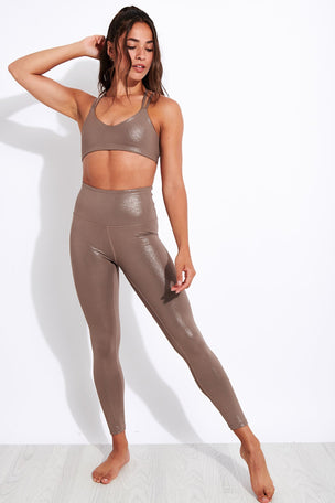 Beyond Yoga Twinkle Bra - Mocha Brown-Rose Gold image 2 - The Sports Edit