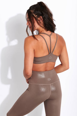 Beyond Yoga Twinkle Bra - Mocha Brown-Rose Gold image 3 - The Sports Edit