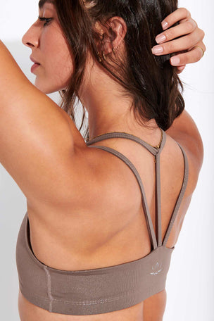 Beyond Yoga Twinkle Bra - Mocha Brown-Rose Gold image 4 - The Sports Edit