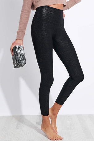 Beyond Yoga Twinkle High Waisted Midi Legging - Black/Silver Twinkle image 1 - The Sports Edit