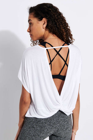 Beyond Yoga Twist Goodbye Cropped Tee - White image 1 - The Sports Edit