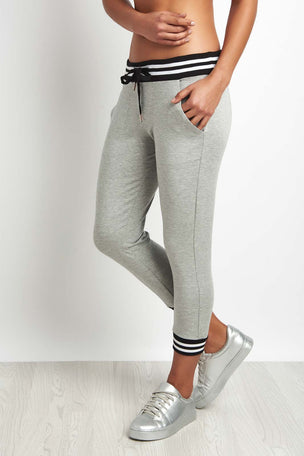 Beyond Yoga Varsity Cropped Sweatpant Grey image 1 - The Sports Edit