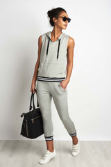 Beyond Yoga Varsity Muscle Hoodie Grey image 4 - The Sports Edit