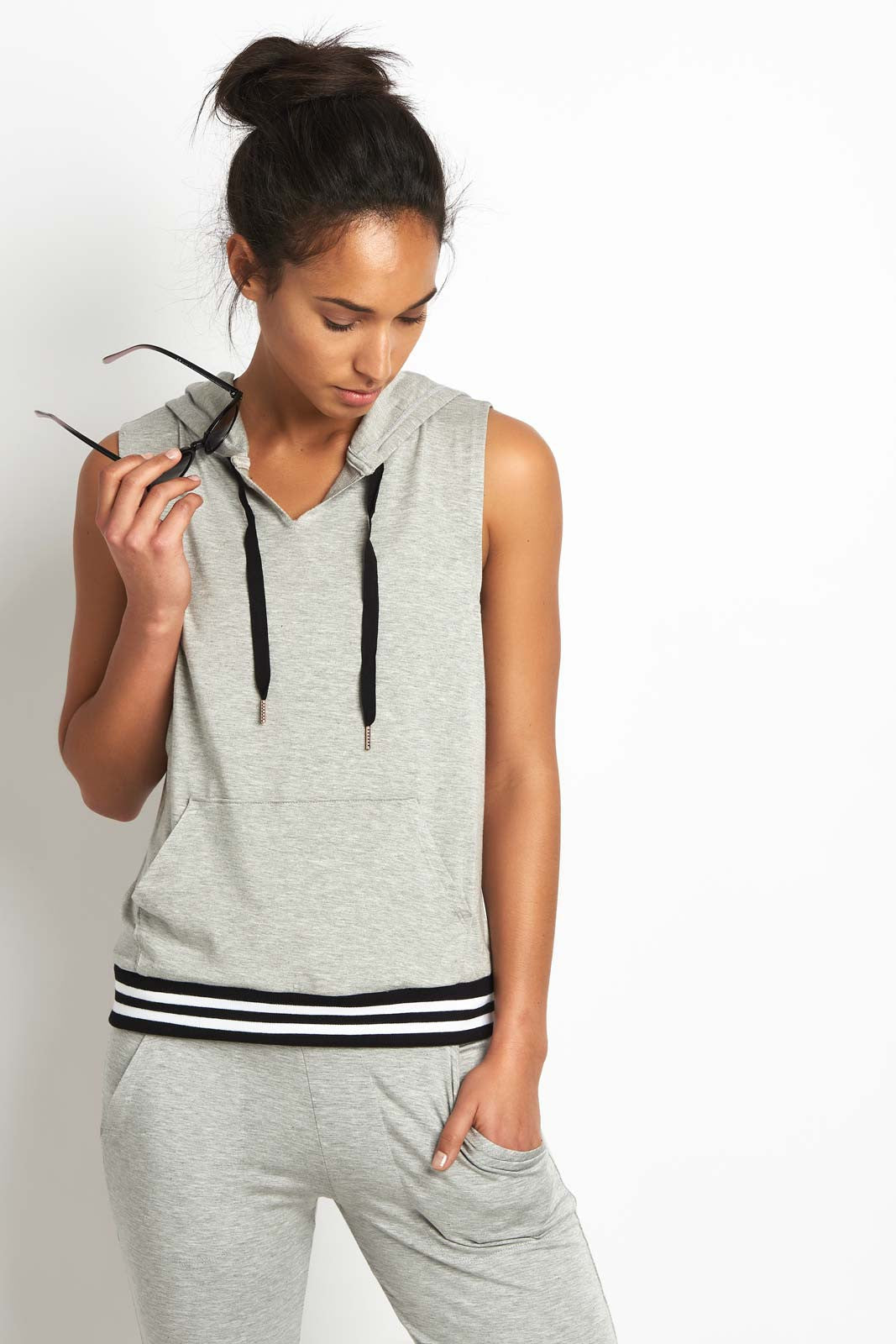 Beyond Yoga Varsity Muscle Hoodie Grey image 1 - The Sports Edit